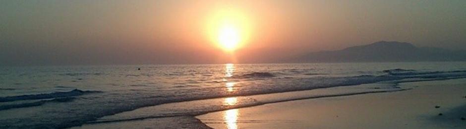 Puesta de sol en la Playa de Los Lances en Tarifa